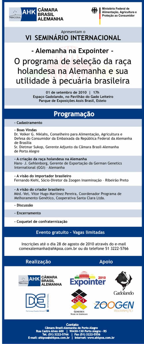 Alemanha apresenta seminários na Expointer